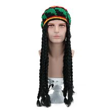 "28"" Long Black Synthetic Rasta Dreadlocks Wig Tam Reggae Knit Slouchy Cap Jamaican Crocheted Beanie Hippie Knitted Stretchy Hat(China)"