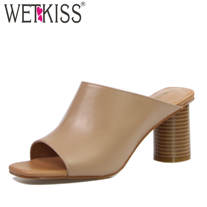 WETKISS Handmade Genuine Leather Women's Slippers Sexy Peep toe Thick High Heels Mules Shoes Woman Solid Slides Female Footwear wetkiss brand genuine leather mules fashion summer shoes leisure sewing thick high heels shoes sexy open toe woman slippers