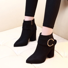 2019 Women Ankle Boots Flock Black Winter Shoes All Match Square High Heel Ladies Motorcycle Boots Shoes Big Size 34-39 CH-A0060 цена в Москве и Питере