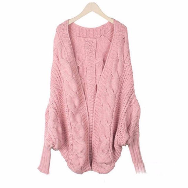 Moda 2016 otoño y el invierno gruesa hecha punto del suéter del batwing manga de la rebeca floja del cabo engrosamiento prendas de vestir exteriores