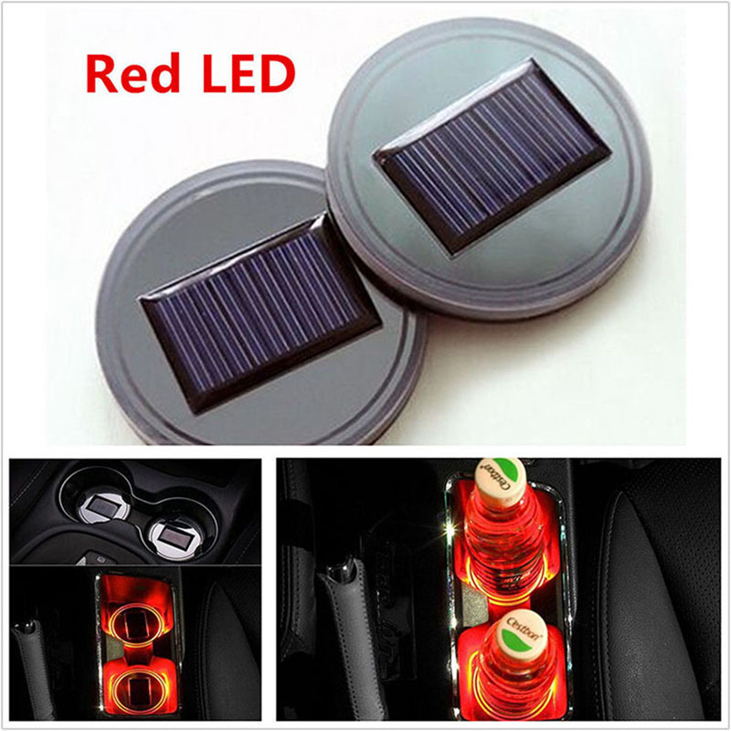 Dreauto 2Pcs Car Solar Energy Cup Holder Bottom Pad Mat Blue LED Light Cover Trim Atmosphere Lamp Decor for VW Mercedes Benz in Decorative Lamp from Automobiles Motorcycles
