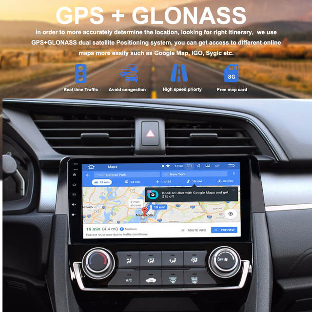 Car 1 din android GPS for Honda Civic 10 2015 2016 Autoradio navigation  head unit radio browser 4Gb+32Gb Android 8 0 PX5 8-Core