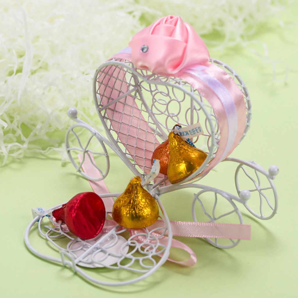 1 шт творческий конфеты Коробки Романтический каретки сладости, шоколад коробка свадебные сувениры Малый металлический кейс мило конфеты хранения