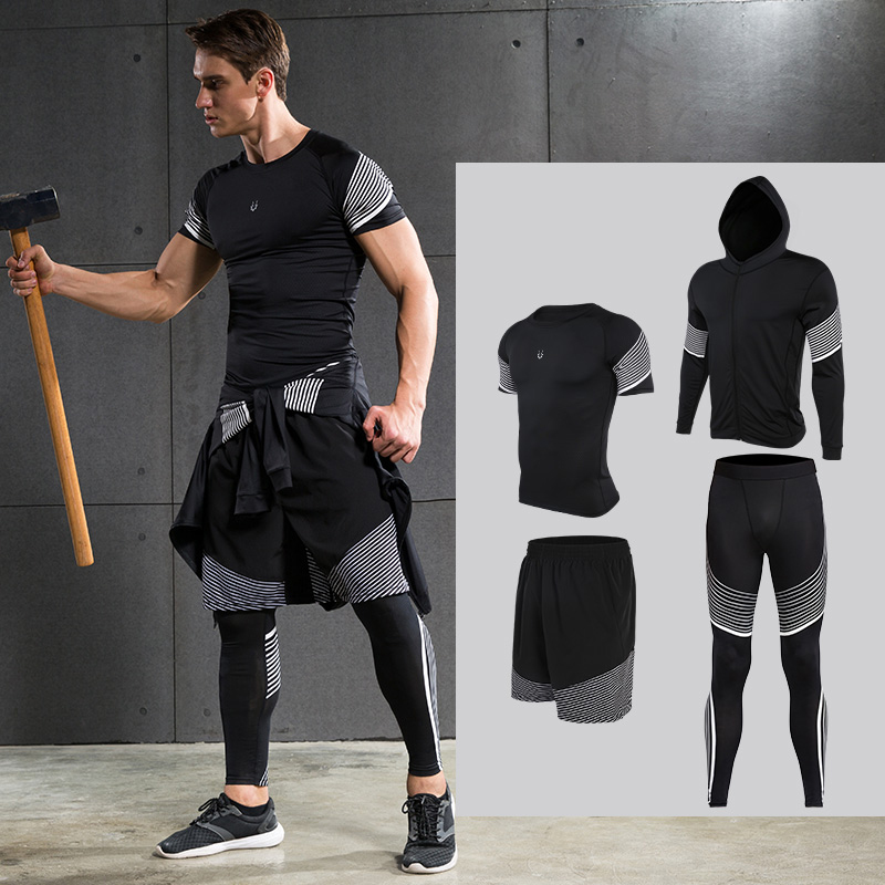 Men's Compression Running Suits Sports Set Four Equipments Shirt Jackets Shorts and Leggings for Joggers Gym Fitness Tights Sets 3 piece set men s sports running stretch tights leggings t shirts shorts training pants jogging fitness gym compression suits