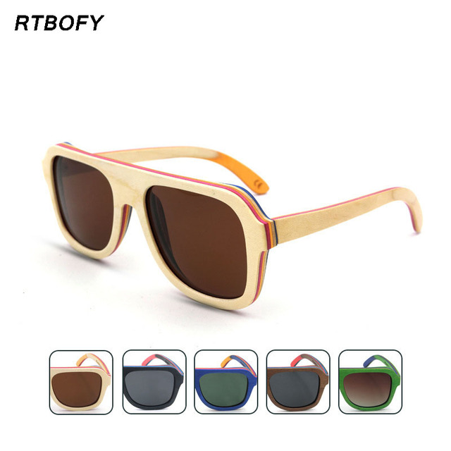 Handmade Skateboard Wooden Sunglasses Women Men Polarized Goggle Sport Summer Eyewear De Sol SQ-SK7585