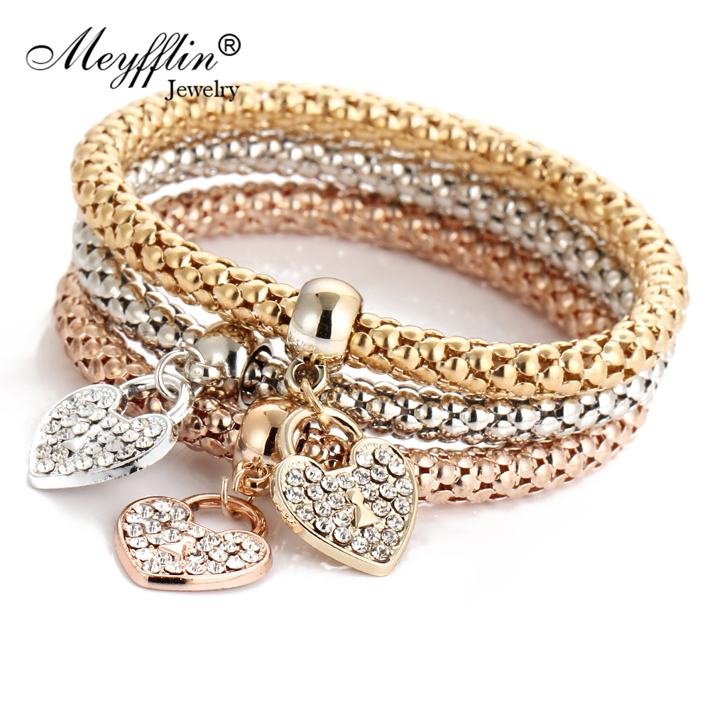 3PCS Set Crystal Bracelets & Bangles 2019 Gold Wrap Charm Bracelets Femme for Women Men Fashion Jewelry Multilayer Bijoux