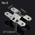 5PCS 25x118mm Invisible Concealed Cross Door Hinge Stainless Steel Hidden Hinges Bearing 40KG With Screw For Folding Door K99