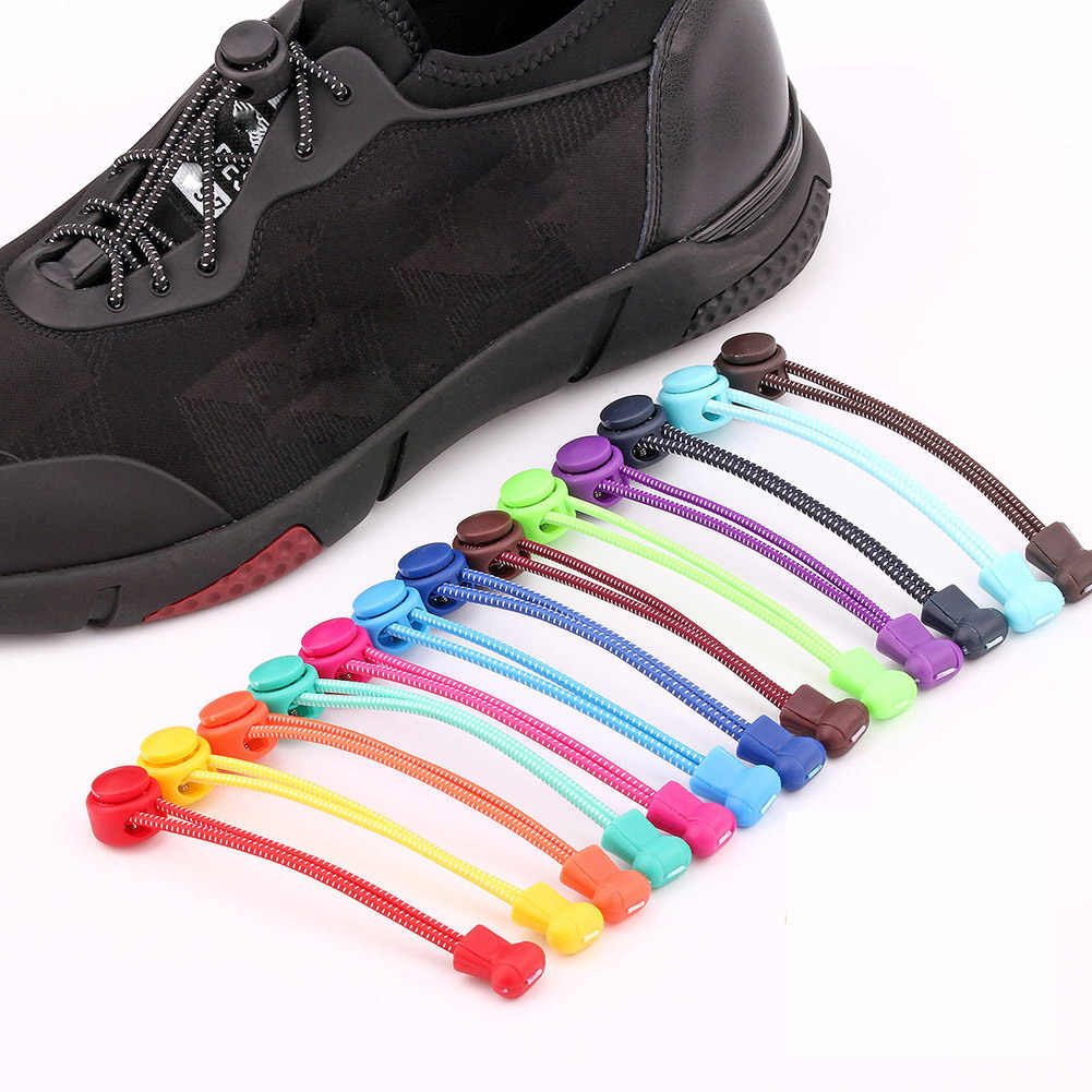 24 Colors No tie Shoelaces Lazy Laces Round Elastic Shoe Laces For Kids and Adult Sneakers Rubber Shoelace Quick Shoestrings New