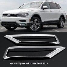 2 x Car Front Fog Light Lamp Cover Trim ABS Chrome Decoration Sticker Car Styling for Volkswagen VW Tiguan Mk2 2016 2017 2018
