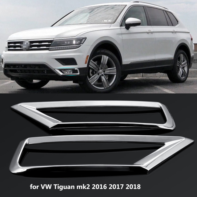 2 x Car Front Fog Light Lamp Cover Trim ABS Chrome Decoration Sticker Car Styling for Volkswagen VW Tiguan Mk2 2016 2017 2018