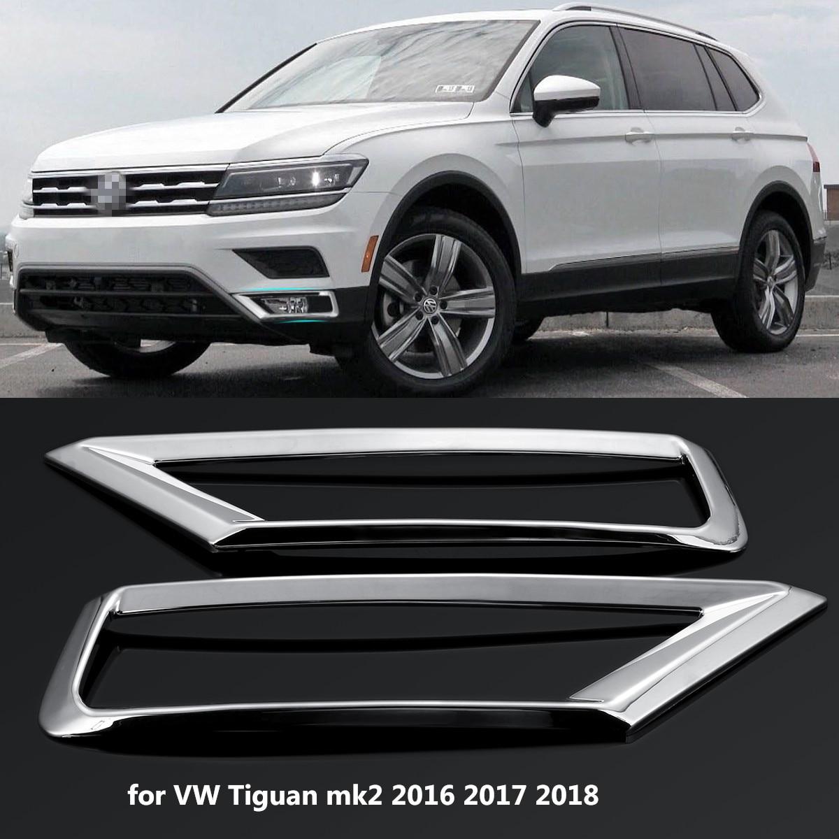 2 x frente do carro luz de nevoeiro lâmpada capa guarnição abs chrome decoração adesivo estilo do carro para volkswagen vw tiguan mk2 2016 2017 2018