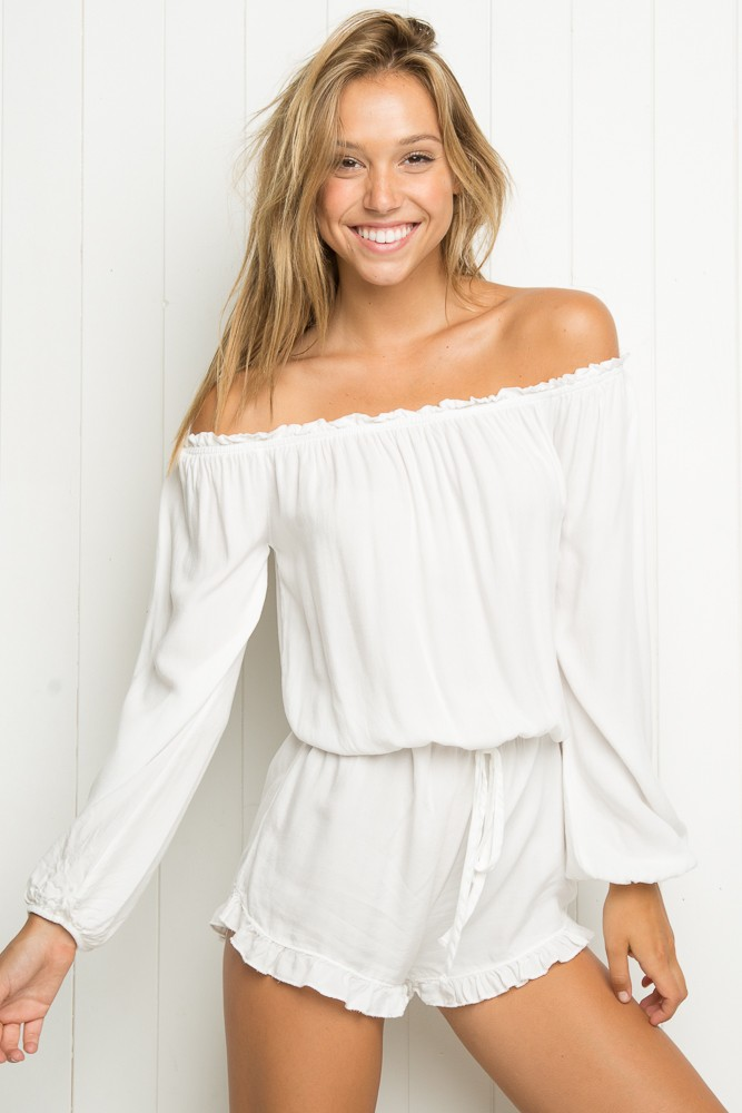 07cd9c0a096c Boho Off Shoulder Jumpsuit Shorts New Summer Jumpsuit Women Sleeve Off The Shoulder  2 Colors Sexy Romper Womens White SM15LT99-in Rompers from Women s ...