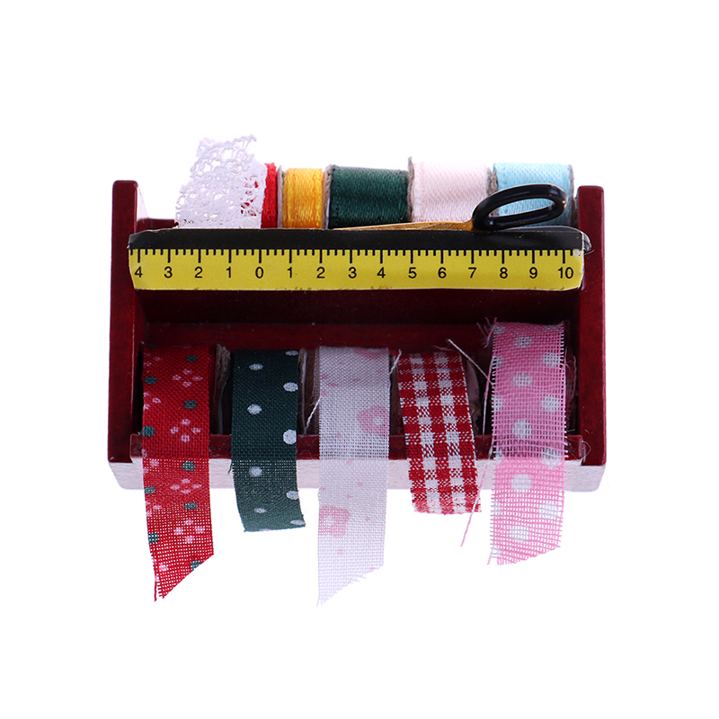 New 1:12 Dollhouse Miniature Sewing Tape Kit In Wood Box Cut Wooden Frame Shelf Dollhouse Decoration Accessories