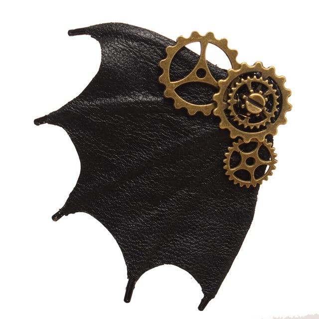 Заколка стимпанк с крылом летучей мыши 3