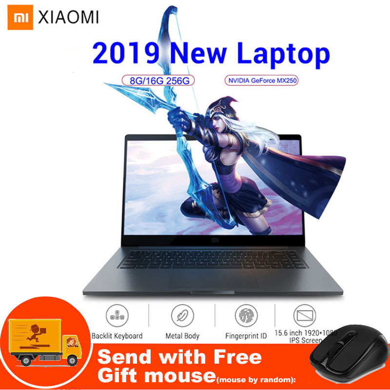 Xiao mi ordinateur portable portable Pro 15.6 pouces Windows10 Intel Quad Core I5/I7 1.8 GHz 16G 256 GB empreinte digitale NVIDIA MX150 Ga mi ng ordinateur portable