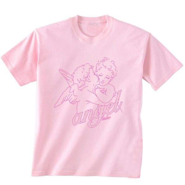 Angel 90s Pink Aesthetic T Shirt Women Tumblr Fashion Casual Loose Graphic Tee  camiseta rosa feminina vintage Christian shirts -in T-Shirts from Women s  ... 912be09a1408