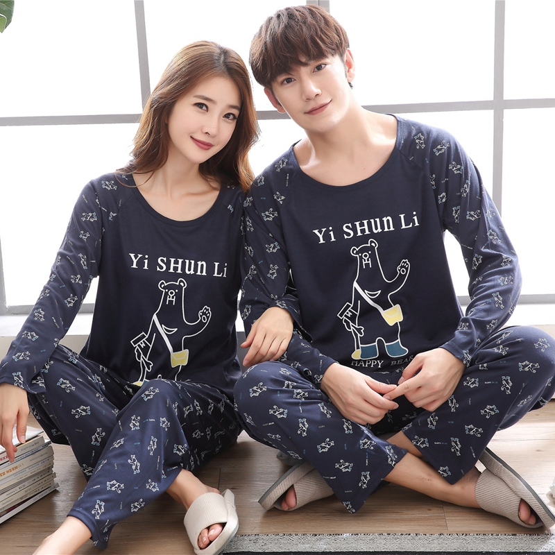 Plus Size Couples  Cotton Pajamas Sets Women Autumn Long Sleeve Cute Cartoon Pyjama Pijama Men Lounge Homewear Clothing