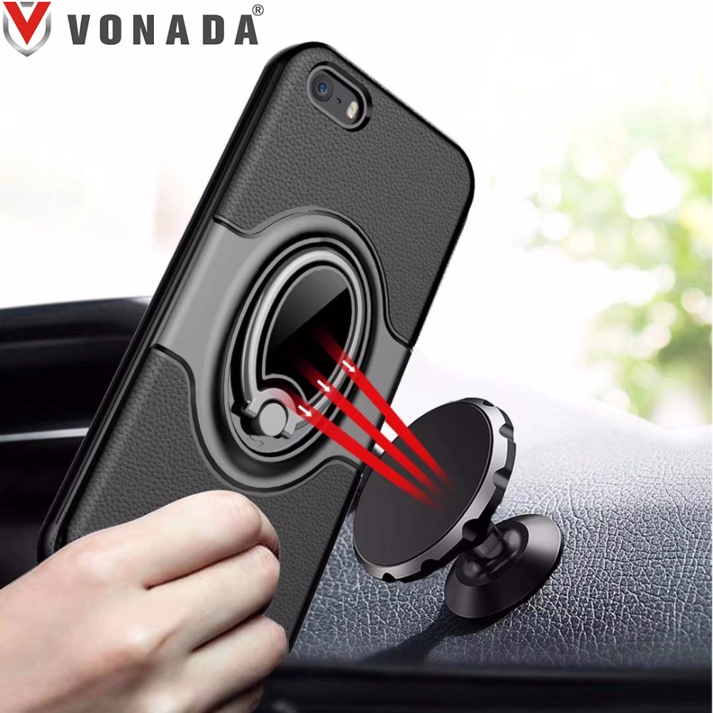Finger Ring 360 Degree Rotation Magnet Car Holder TPU PC Hybrid Shockproof Phone Case Cover for iPhone 5 5S SE