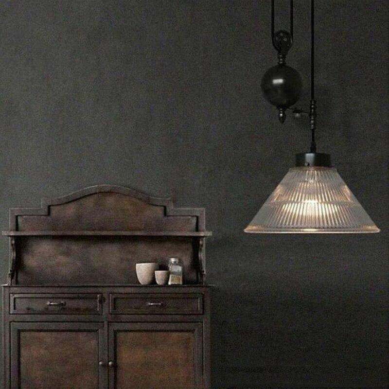 American retro nostalgia lamp lift glass mahjong lamp chandelier restaurant study lamp light material iron E27 AC110 240V - 3
