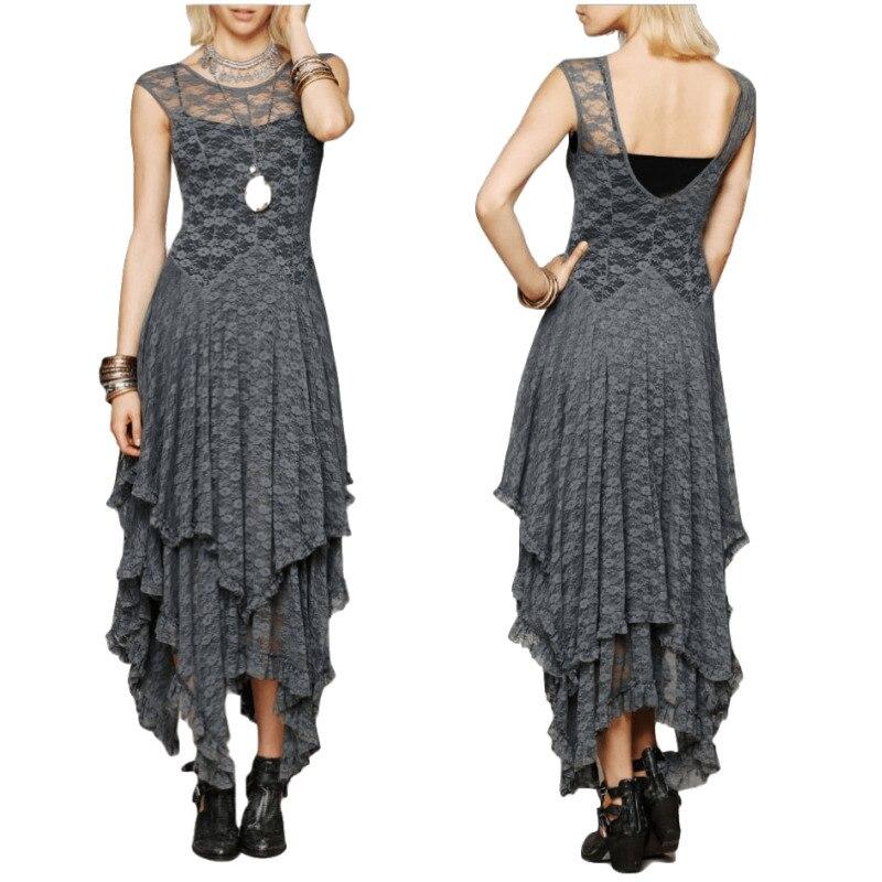 CA Modo As Pessoas Estilo Hippie Boho das Mulheres Irregular Vestido de Renda Vestidos Sexy Vestido Longo Double Layered Ruffled Aparar