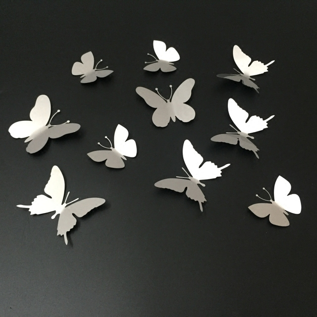 10Pcs/lot Silver 3D Butterfly Wall Decor Art Mirror Wall Sticker ...