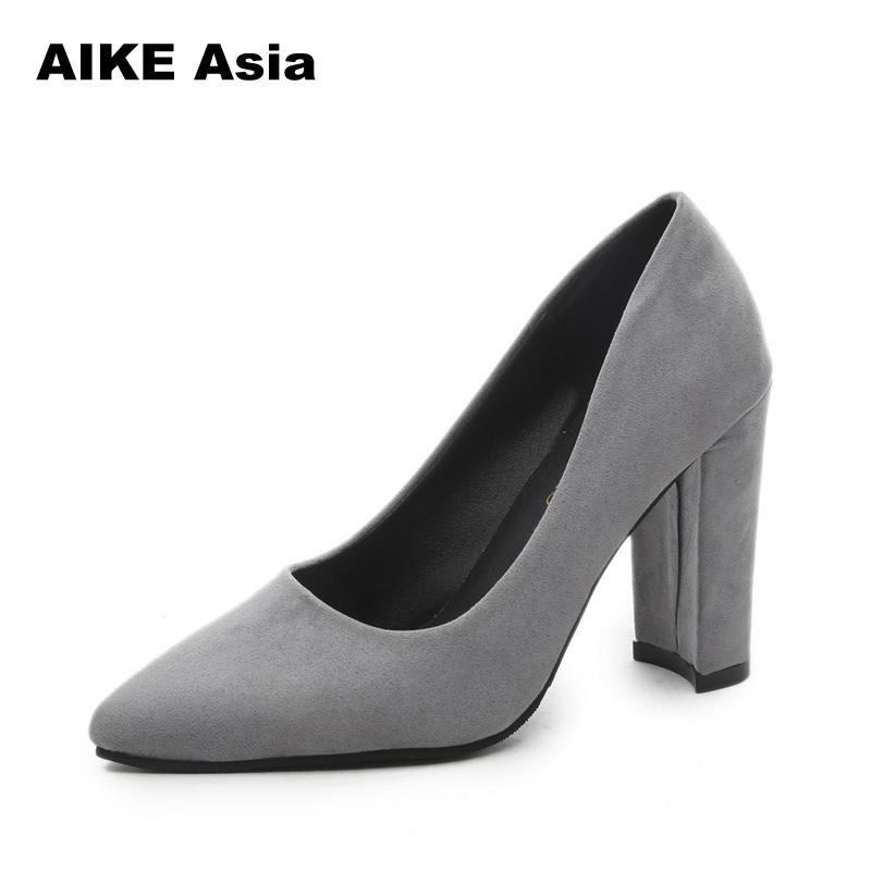 2019 Women Pumps Ankle Strap Thick Heel Women Shoes Square Toe Mid Heels Dress Work Pumps Comfortable Ladies Shoes Sandals