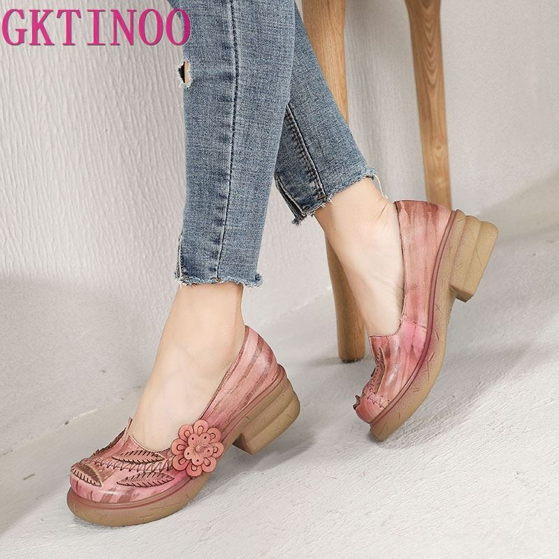 GKTINOO Original Design Women Pumps Shoes Genuine Leather Round Toe Flower Platform Lady Vintage Handmade Casual