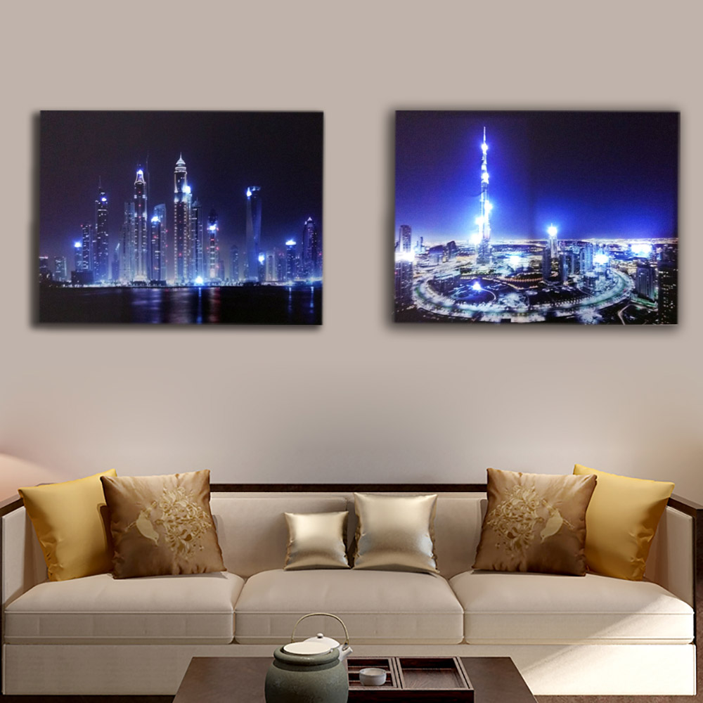 Us 19 99 Burj Khalifa Tower Dubai Skyline City Night Wall Picture Led Canvas Art Light Up Decor Painting Artwork Printed For Living Room In Painting