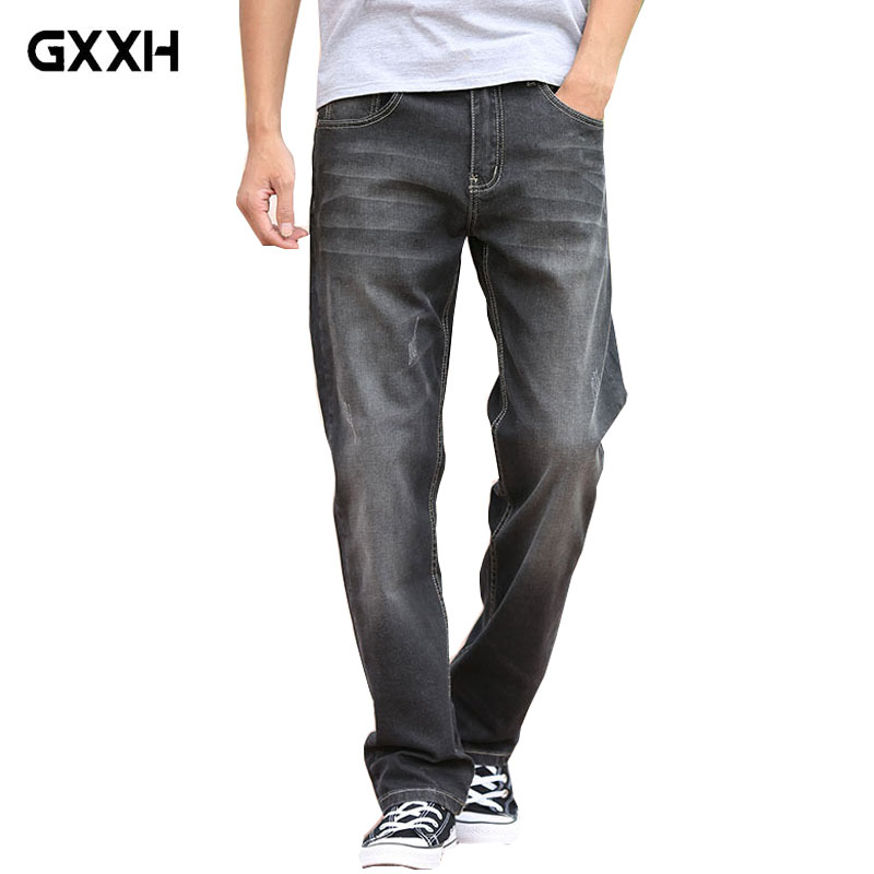 Spring and Summer New Loose jeans Men Straight Stretch jeans Cat Gray Large size trousers Ladies Classic Denim Casual pants