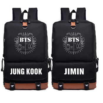2018 New BTS Bangtan Boys JUNG KOOK JIMIN Backpack Bts Printing Backpack Canvas School Bags Mochila Travel Bags Laptop Backpack