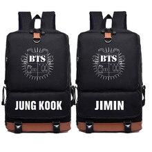 926611e2277f Новинка 2017 BTS Bangtan мальчики JUNG KOOK рюкзак Jimin Bts Печать Рюкзак  Холст Школьные сумки Mochila дорожные сумки рюкзак дл.