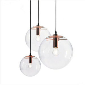Image 3 - נורדי מודרני מינימליסטי זכוכית כדור תליון מנורת מסעדה יחיד בראש בר תליון אור E27 AC110V 220V 230V