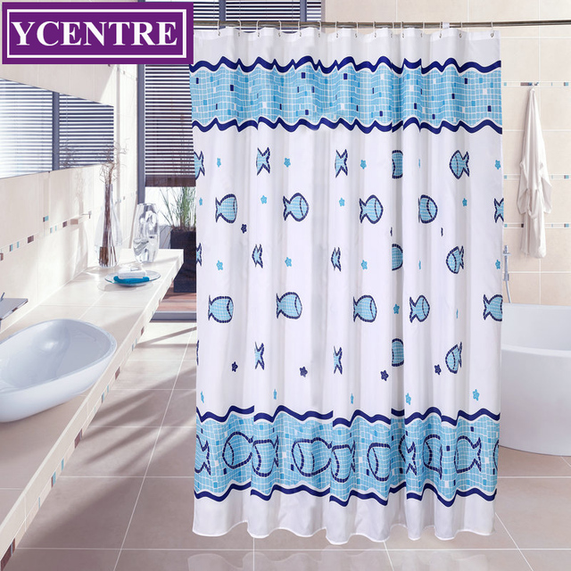 YCENTRE Fabric Shower Curtain With Hooks   Cartoon Fish Design Of Hotel  Style, Mildew Resistant Water Repellent And Eco Friendly
