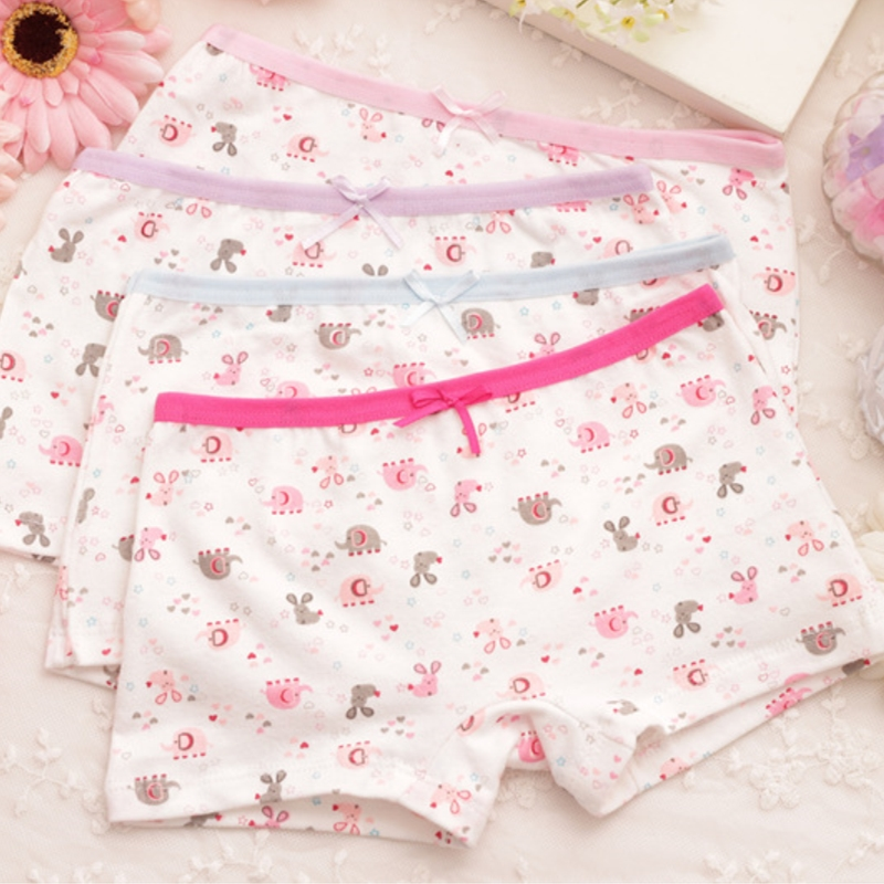 4Pcs/lot Cartoon Kids Girl Underwear For Baby Children's Boxer Underpants Briefs Girls Underware Pants For 2-9 Y