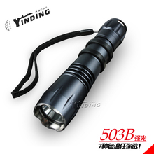 YINDING 503B 10w Cree XM-L2 T6 1000 lm + LED Super bright Aluminum Alloy flashlight 18650 Strong light Outdoor lighting portable