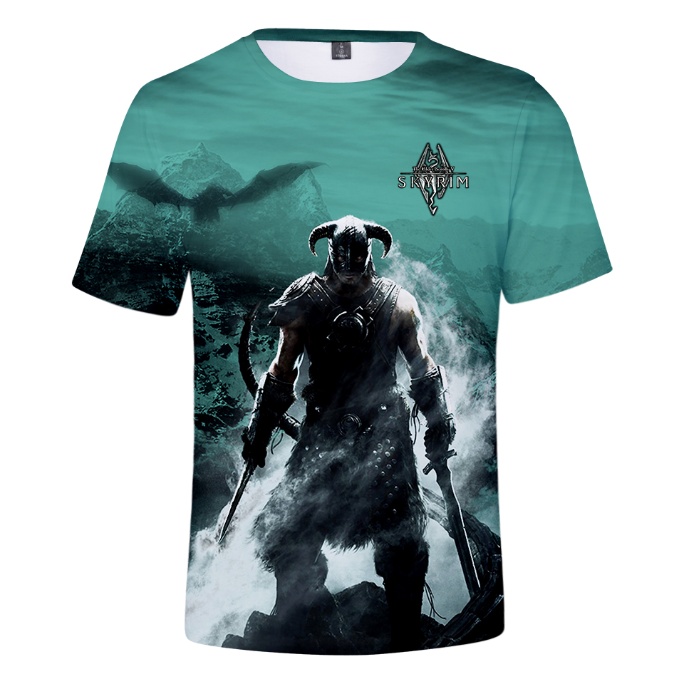 2018 New Hot Games Top Hits Elder Scroll V 3D Printed Loose Short-Sleeve T-Shirt, Summer Casual Short-Sleeve T-Shirt Ms image