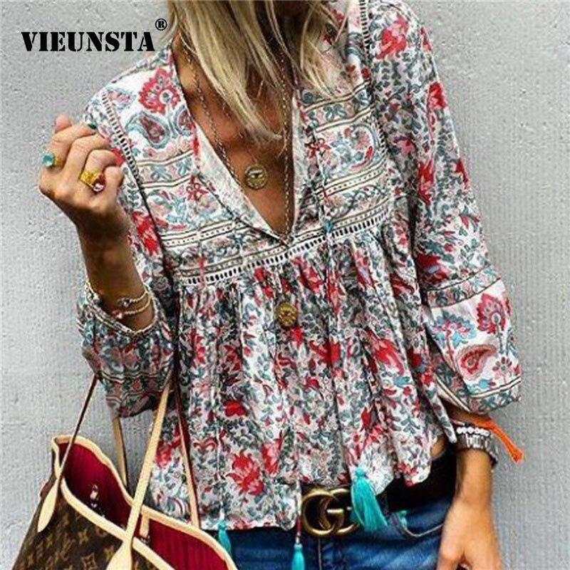VIEUNSTA Boho   Blouse   Floral Print Lantern Sleeve Autumn   Shirt   Sexy Tassel V-Neck Women Tops Summer Lace Patchwork Retro   Blouses