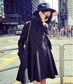 Новой Англии зимой ветер свободно в длинный свободный уличный стиль черный плащ пальто оптовая 6317