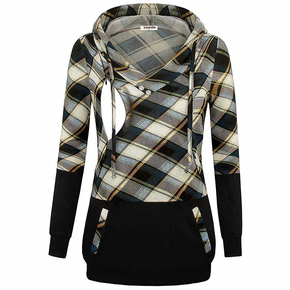 LXXU Mummy Maternity Breastfeeding Clothes Plaid Printing Polyester and Cotton Fabric with Long Sleeve Mummy T Shirt