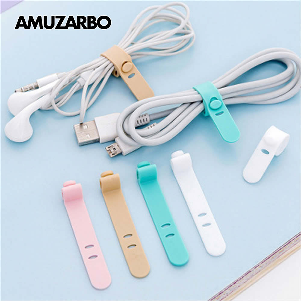 Creative Cable Winding Device Fashion Colored Soft Silicone Cute Bear Chick Headphone Cord Charging Cable Organizer 4pcs/pack