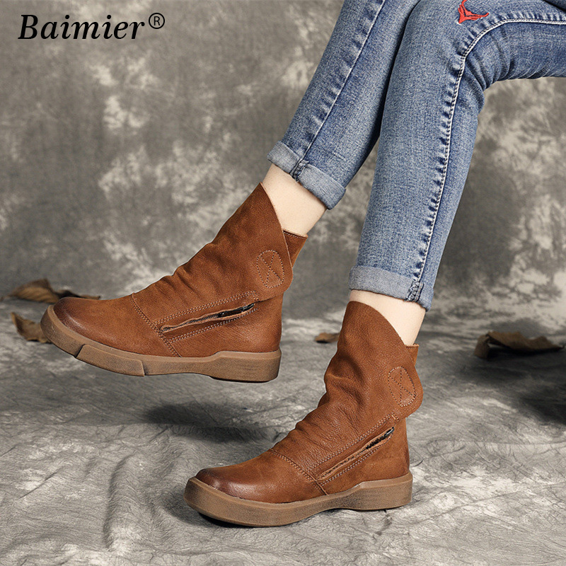 New Hot Style Fashion Women Boots Round Toe Thick Bottom Genuine Leather Shoes Woman Martin Boots Ankle Autumn Winter Boots hxrzyz women chelsea boots spring autumn ankle boots woman hot new fashion of genuine leather round toe suede women winter shoes
