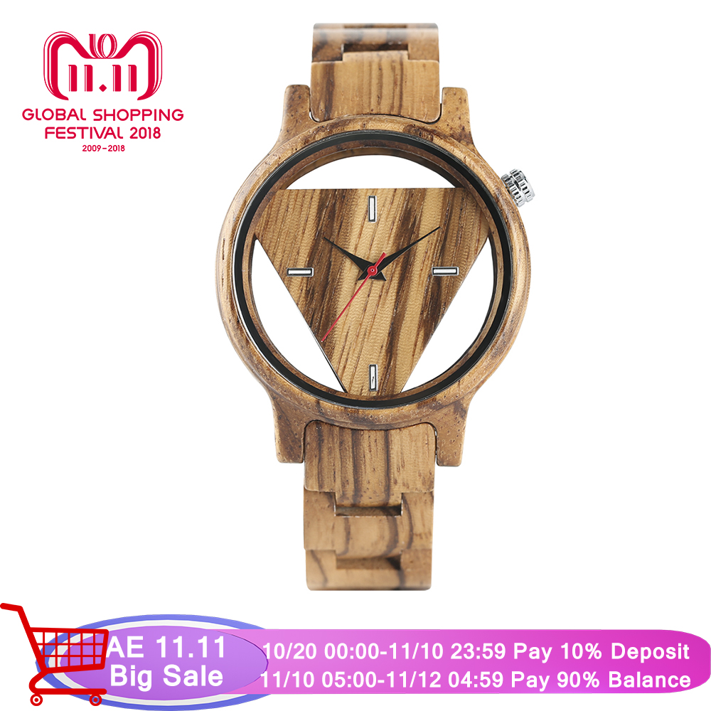Creative Bamboo Wood Wrist Watch Men Novel Design Hollow Triangle Dial Quartz Men's Watches Best Gift Christmas Watches yisuya unique design triangle dial full wood watch men handmade bamboo wooden creative watches analog mens casual clock gift