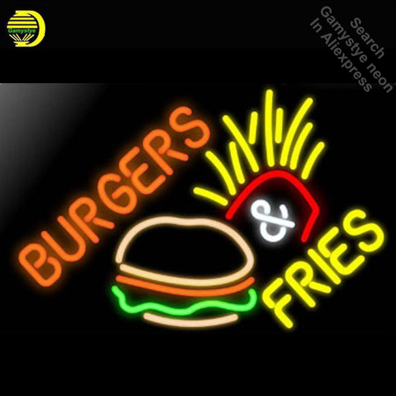 Burger Fries Neon Sign Gift Handcrafted Neon Bulbs Sign Glass Tube Iconic Decorate Room Wall Lamp signs personalized Advertise цена