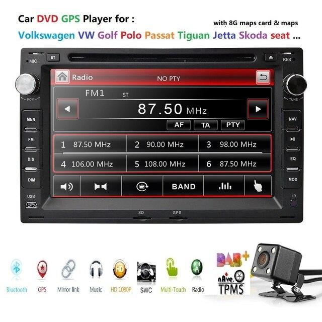 Car DVD Player 2 Din GPS for VW PASSAT B5 JETTA BORA TRANSPORTER T5 GOLF 4 SHARAN FORD GALAXY SEAT Sat Nav Navigation BT SWC DTV