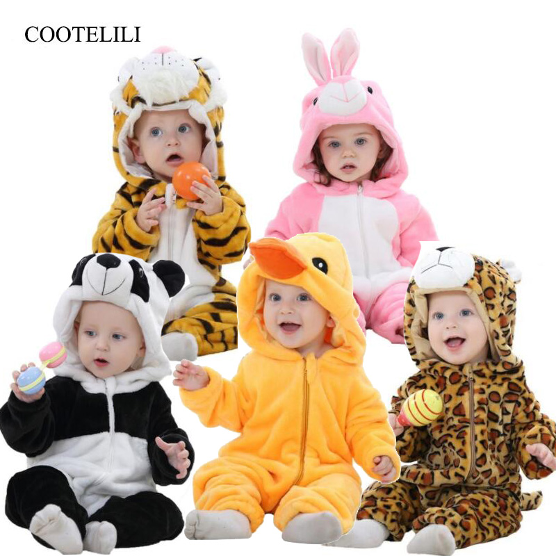 COOTELILI Newborn Baby   Rompers   Boys Girls Clothes Warm Fleece Winter Pajamas Infant Clothing Girls Autumn Halloween Costume