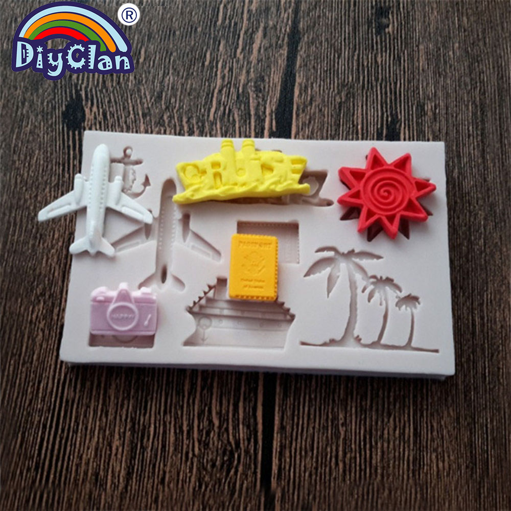 Airplane shape silicone fondant mold for cake decoration aircraf polymer clay chocolate resin molds new cupcake baking tools in Clay Extruders from Home Garden