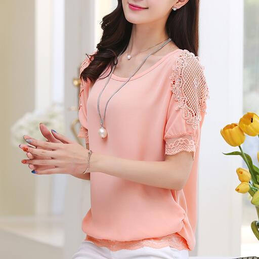 Mulheres camisa de renda chiffon verão curto-de mangas compridas mulheres magras solto moda novas camisas blusa