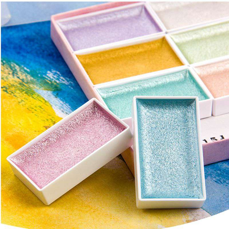 High Quality Metallic 8 Pearl Colors Solid Watercolor Paint Set Starry Colors Watercolour Pigment for Artists Art Supplies|Water Color| |  - title=