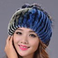 2016 Women Casual Striped Rex Rabbit Fur Hat Fur Ball Real Winter Warm Elastic Fashion Hats  Strips Colors  Lady Beanies Cap