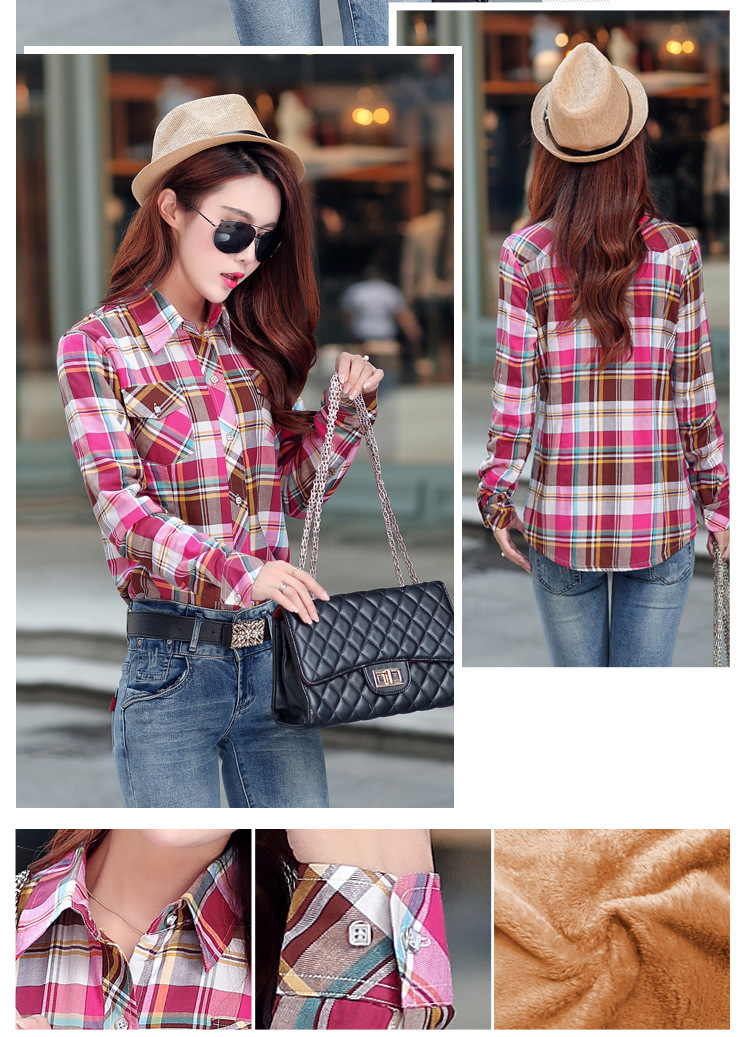 19 Brand New Winter Warm Women Velvet Thicker Jacket Plaid Shirt Style Coat Female College Style Casual Jacket Outerwear 37